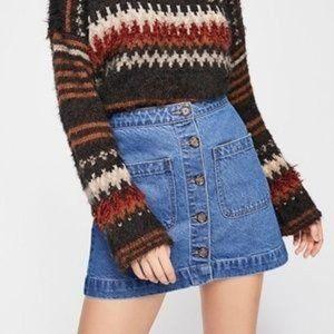 NWT 'We the Free' Button Front Denim Mini Skirt…